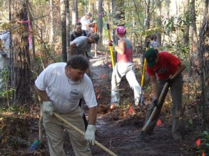 Everyone working together to build one sweet trail!
