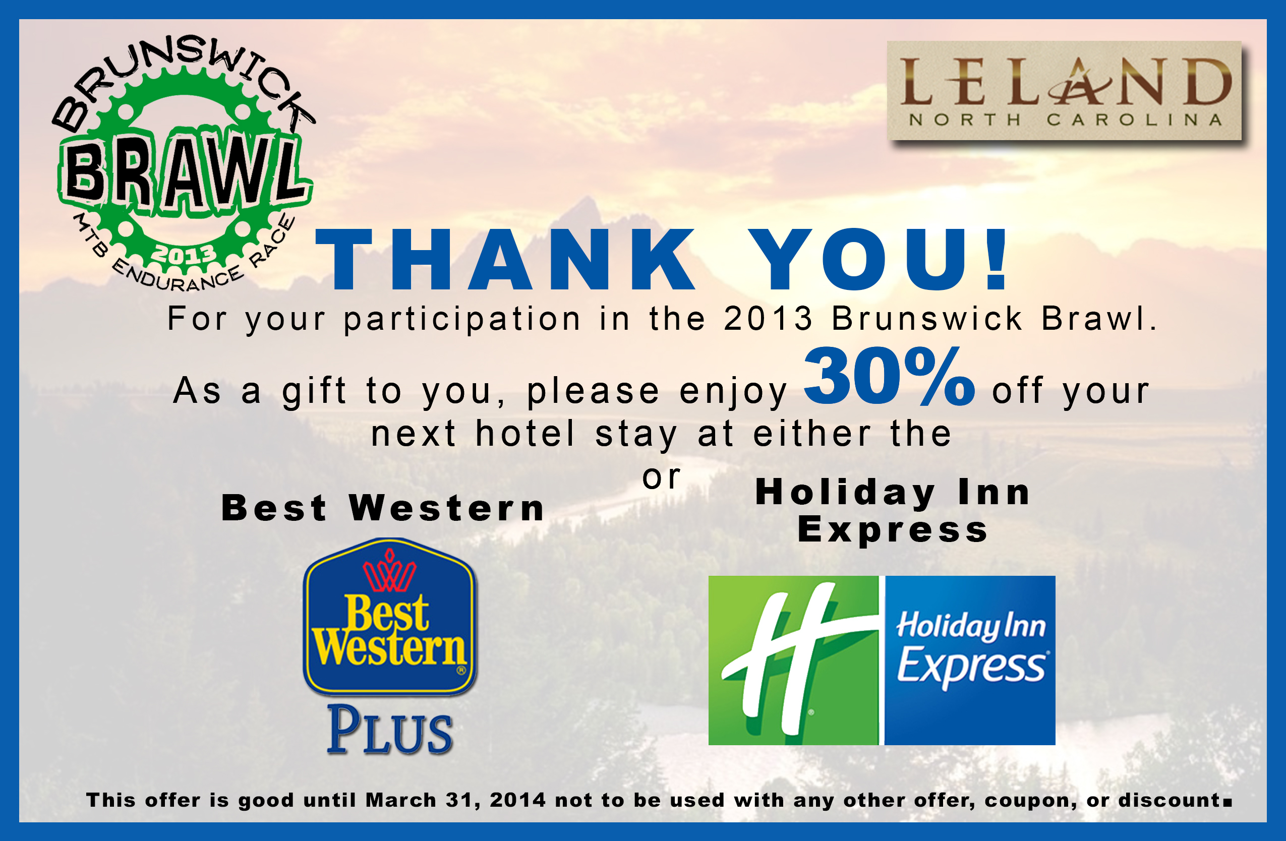 Thank You Coupon From Visit Leland Nc Cape Fear Sorba